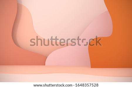Abstract, bright background from paper elements. Podium, stand for advertising products on the background of papercut - 3D, render. Modern illustration for spring and summer holidays with copy space.