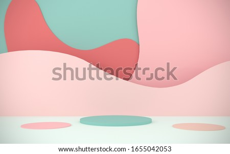 Abstract, bright background from paper elements. Podium, stand for advertising products on the background of papercut - 3D, render. Modern illustration for spring and summer holidays with copy space. stock photo