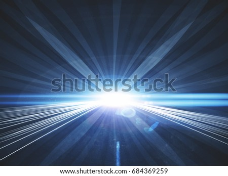 Abstract bright blue road background. Motion concept