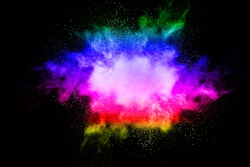 Abstract bright colorful powder on black background.