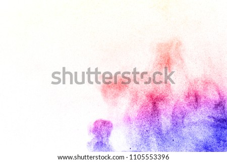 Abstract bright colorful powder on white background,Freeze motion of color powder explosion and multicolored glitter texture, Multicolor clouds. #1105553396