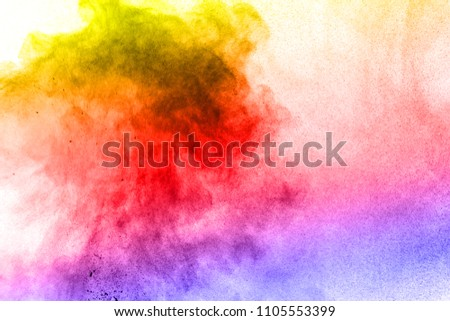 Abstract bright colorful powder on white background,Freeze motion of color powder explosion and multicolored glitter texture, Multicolor clouds. #1105553399