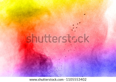 Abstract bright colorful powder on white background,Freeze motion of color powder explosion and multicolored glitter texture, Multicolor clouds. #1105553402