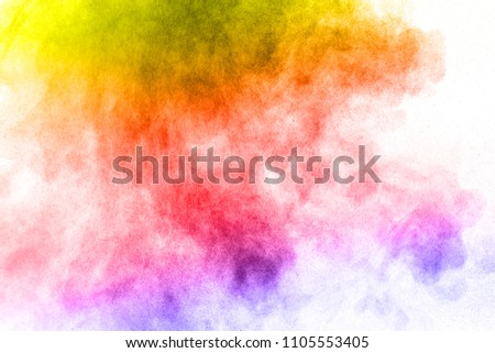 Abstract bright colorful powder on white background,Freeze motion of color powder explosion and multicolored glitter texture, Multicolor clouds. #1105553405