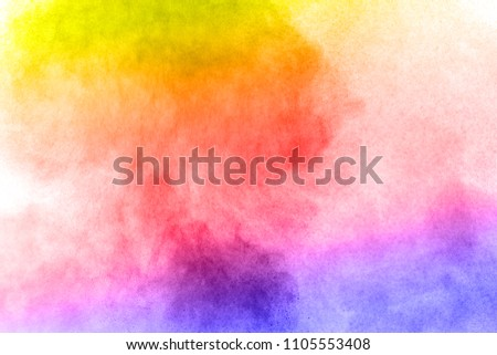 Abstract bright colorful powder on white background,Freeze motion of color powder explosion and multicolored glitter texture, Multicolor clouds. #1105553408