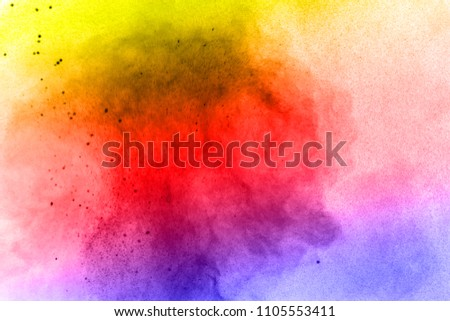 Abstract bright colorful powder on white background,Freeze motion of color powder explosion and multicolored glitter texture, Multicolor clouds. #1105553411