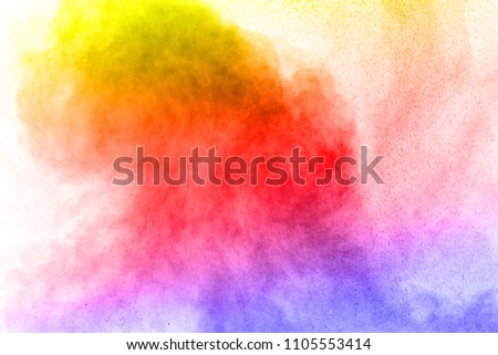 Abstract bright colorful powder on white background,Freeze motion of color powder explosion and multicolored glitter texture, Multicolor clouds. #1105553414