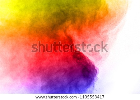 Abstract bright colorful powder on white background,Freeze motion of color powder explosion and multicolored glitter texture, Multicolor clouds. #1105553417