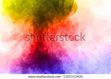 Abstract bright colorful powder on white background,Freeze motion of color powder explosion and multicolored glitter texture, Multicolor clouds. #1105553420