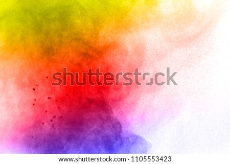 Abstract bright colorful powder on white background,Freeze motion of color powder explosion and multicolored glitter texture, Multicolor clouds. #1105553423