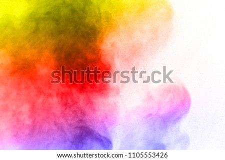 Abstract bright colorful powder on white background,Freeze motion of color powder explosion and multicolored glitter texture, Multicolor clouds. #1105553426