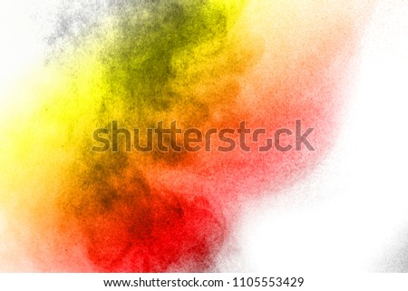 Abstract bright colorful powder on white background,Freeze motion of color powder explosion and multicolored glitter texture, Multicolor clouds. #1105553429