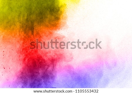 Abstract bright colorful powder on white background,Freeze motion of color powder explosion and multicolored glitter texture, Multicolor clouds. #1105553432