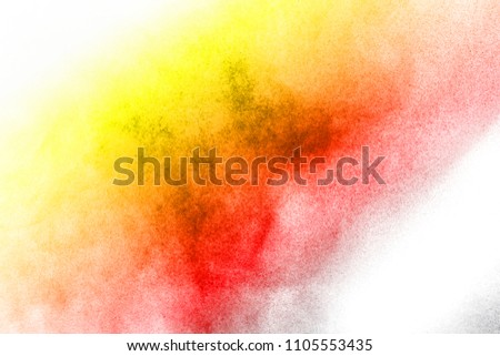 Abstract bright colorful powder on white background,Freeze motion of color powder explosion and multicolored glitter texture, Multicolor clouds. #1105553435