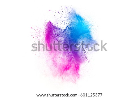 Photo of  Abstract bright colorful powder on white background. Multicolor clouds. abstract color powder splatted on white background,Freeze motion of color powder explosion and multicolored glitter texture.