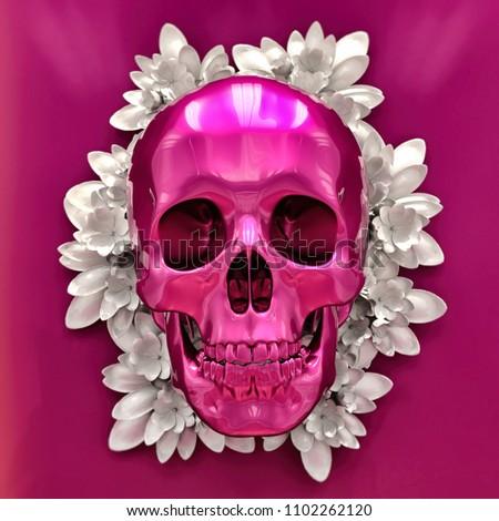 Abstract Bright Illustration of Skull, Skull Image in Artistic Technique with Vibrant Colors, Skull Art, Day of The Dead Skull, Mexican,  November 2