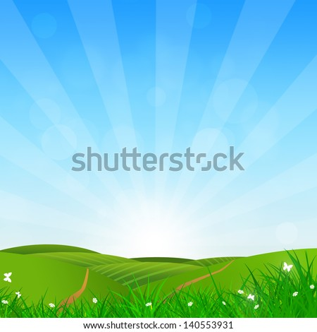 abstract bright nature background with green grass hills