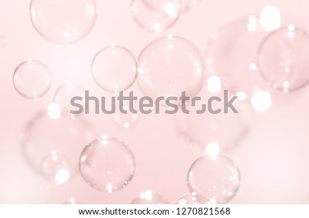 Abstract bright pink soap bubbles floating background. #1270821568
