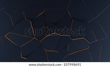 Abstract broken background made of carbon-fibre with orange glowing edges 3D