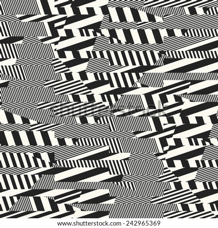 Abstract broken refracted striped textured glitch geometric seamless pattern.