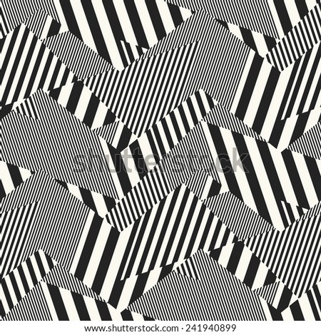 Abstract broken striped patch seamless pattern.