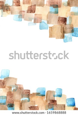 Abstract brown and blue brush stroke watercolor hand painting background for decoration.