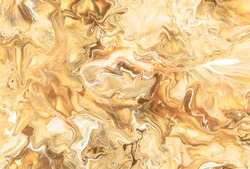 Abstract Brown gold watercolor background. Colorful rich luxury texture. Oil painting style. Fractal art Graphic design. Unique golden pattern.