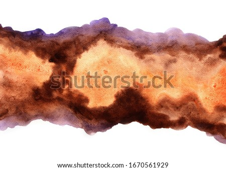 Abstract brown, orange and purple watercolor hand painting background for decoration on autumn season and coffee cafe artwork advertisting.