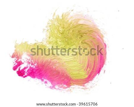 Abstract brush stroke. ochre and pink. Isolated on white.