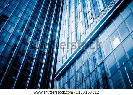 Abstract building. blue glass wall of skyscraper #1159159312