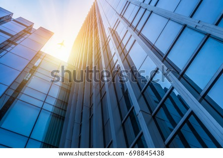 Abstract building. blue glass wall of skyscraper  #698845438