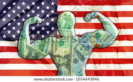 Abstract business background. Concept of powerful United States American Dollar. United States Flag and bodybuilder shaped USD currency. Financial concept about exchange rate of American dollars.