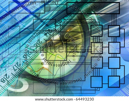 Abstract business background - magnifier, scheme and digits.