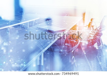 Abstract business background with meeting room and internet network effect. Double exposure