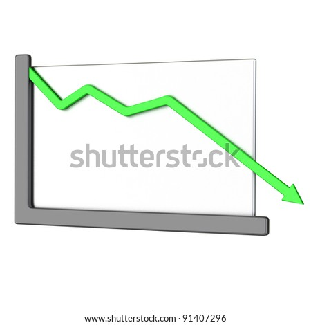 Abstract business graph - green arrow down 3d