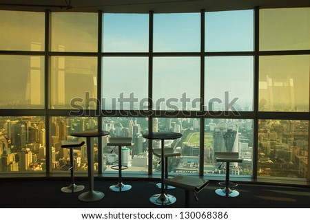 abstract business interior with glass wall and panoramic view