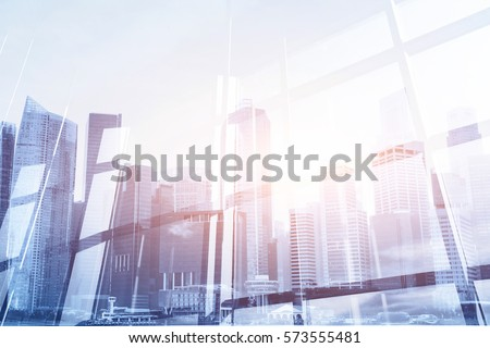 abstract business modern background with cityscape double exposure #573555481