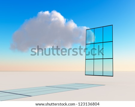 Abstract business or technology concept for future trend or forecasting using a cloud floating by window over a simple bright horizon