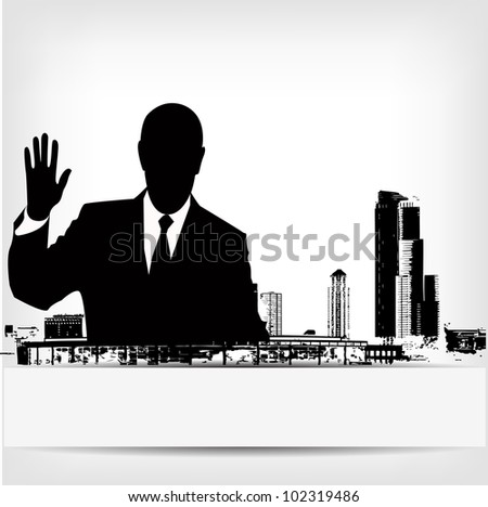 abstract businessman silhouette background - vector version in portfolio