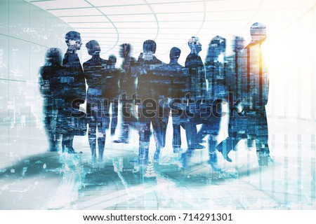 Abstract businessmen silhouettes in spacious office interior on city background. Meeting concept. Double exposure