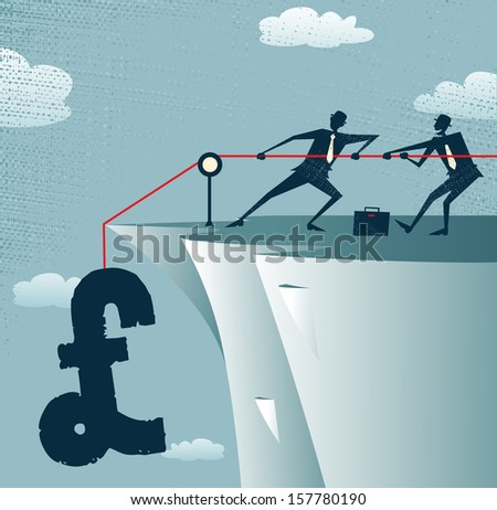 Abstract Businessmen work together to save the money. Great illustration of Retro styled Businessman standing on the cliffs saving the money by pulling up the Pound. - stock photo