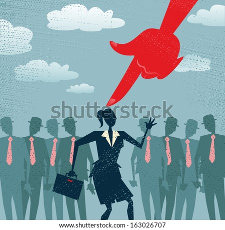 Abstract Businesswoman is Picked and Selected. Great illustration of Retro styled Businesswoman picked out from the crowd by a huge people picking red hand. All recruitment Agencies need one of these! - stock photo