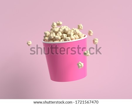 abstract cartoon style popcorn bucket 3d rendering