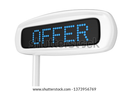 Abstract Cash Register Display Displaying Offer Blue Sign on a white background 3d Rendering