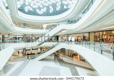 abstract ceiling and escalator in hall of shopping mall Foto d'archivio ©