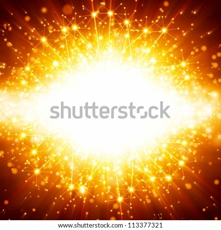 Abstract celebration background - bright orange lights, flash, illumination