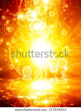 Abstract celebration background - bright yellow, orange lights