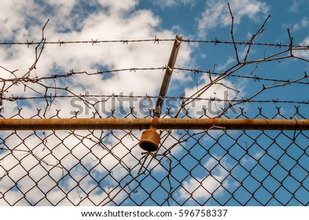 Abstract chain link fence with barbed wire. Broken chain steel fence with barbed wire and branches. Branches and roots on steel gate frame. Industrial art and design. Abstract sky colorful background. #596758337