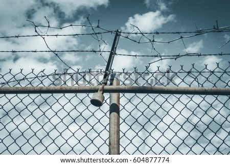Abstract chain link fence with barbed wire. Broken chain steel fence with barbed wire and branches. Branches and roots on steel gate frame. Industrial art and design. Abstract sky colorful background. #604877774