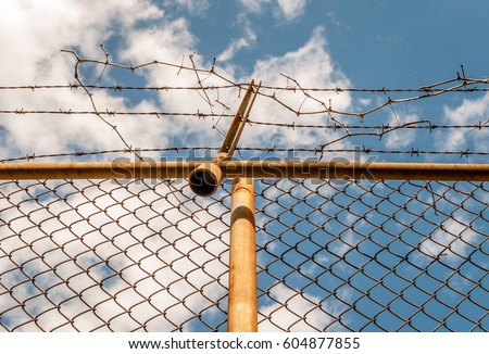 Abstract chain link fence with barbed wire. Broken chain steel fence with barbed wire and branches. Branches and roots on steel gate frame. Industrial art and design. Abstract sky colorful background. #604877855